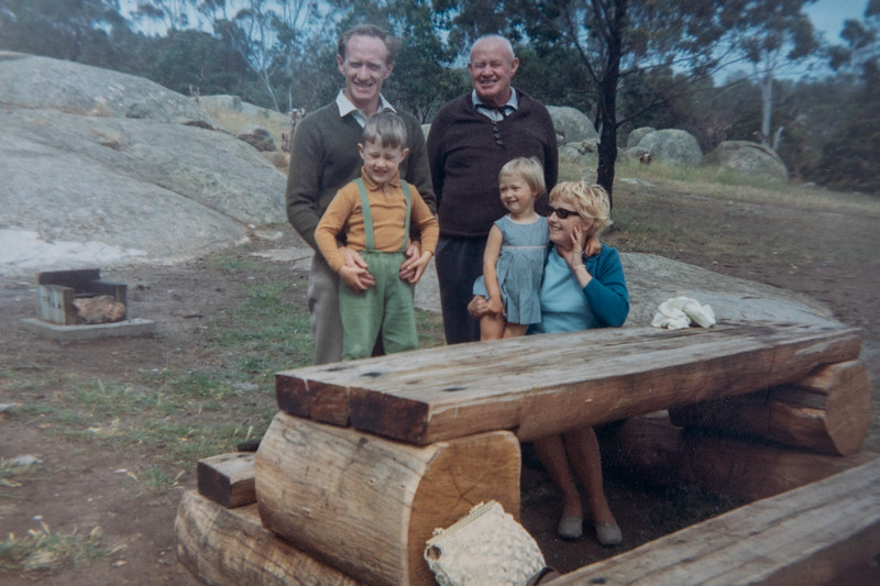 rear: Colin Holmes, Charles Holmes, Front: Anthony Holmes, Allison Holmes, Enid Holmes. Approx 1970-1971?