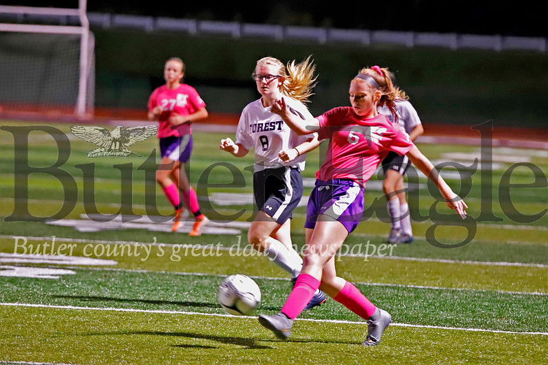 Karns City's Emma Dailey takes a shot on goal against Forest. Daily scored one of the Gremlins first half goals in Thursday's home win. Seb Foltz/Butler Eagle