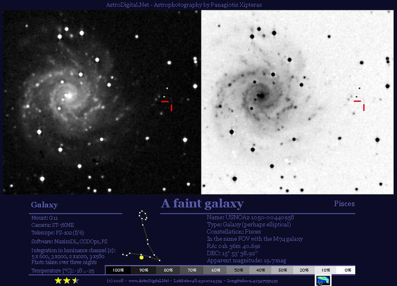 2008: Das nenne ich lichtschwach: ein Objekt mit 19,7mag im GF der M74