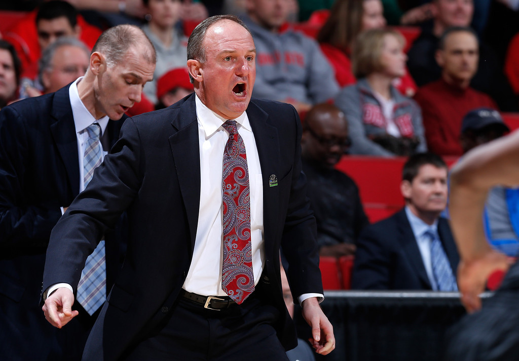 . DAYTON, OH - MARCH 22: Head coach Thad Matta of the Ohio State Buckeyes looks on from the sideline in the first half against the Iona Gaels during the second round of the 2013 NCAA Men\'s Basketball Tournament at UD Arena on March 22, 2013 in Dayton, Ohio.  (Photo by Joe Robbins/Getty Images)