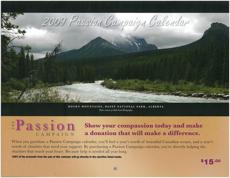2009 Passion Campaign Calendar cover page Rocky Mountains, Banff Nat. Park, Alberta.jpg