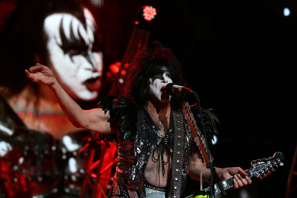 . Paul Stanley of KISS performs live on stage as part of their Monster Tour with Motley Crue and Thin Lizzy at Perth Arena on February 28, 2013 in Perth, Australia.  (Photo by Paul Kane/Getty Images)