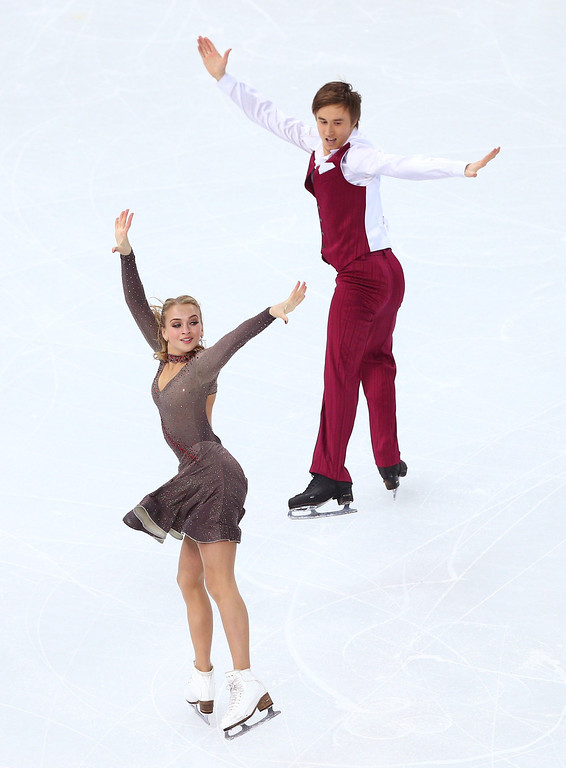 . Victoria Sinitsina and Ruslan Zhiganshin of Russia compete during the Figure Skating Ice Dance Short Dance on day 9 of the Sochi 2014 Winter Olympics at Iceberg Skating Palace on February 16, 2014 in Sochi, Russia.  (Photo by Paul Gilham/Getty Images)