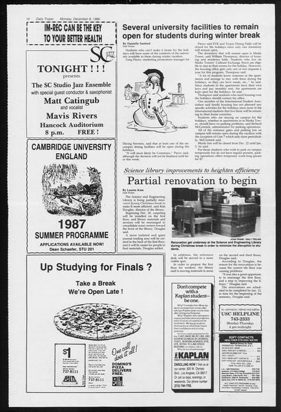 Daily Trojan, Vol. 102, No. 66, December 08, 1986