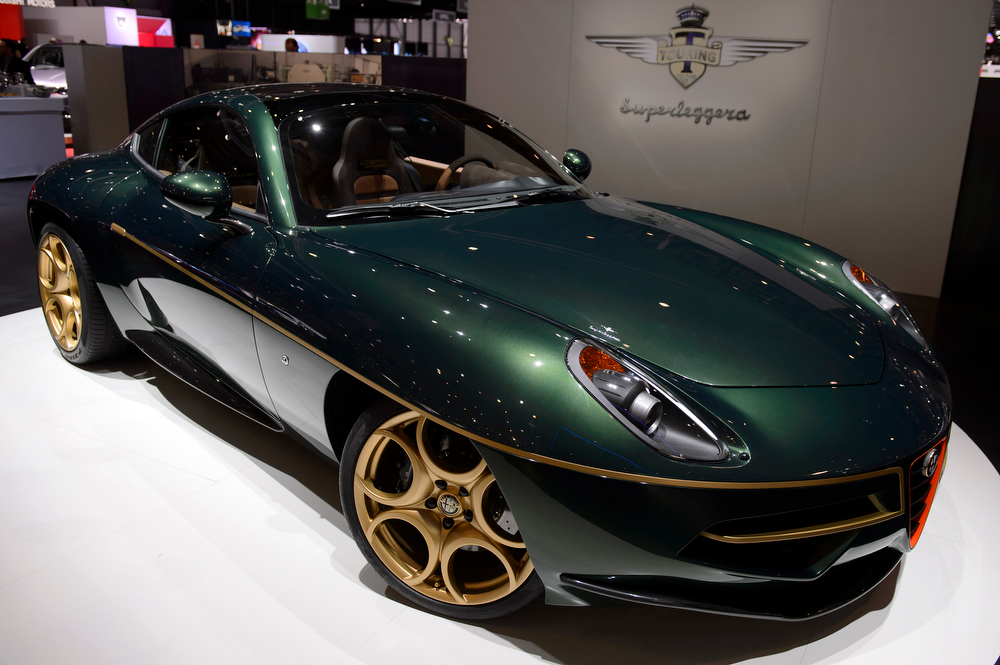 . The new Touring Superleggera Disco Volante is shown during the press day at the 84th Geneva International Motor Show in Geneva, Switzerland, Wednesday, March 5, 2014. (AP Photo/Keystone, Martial Trezzini)