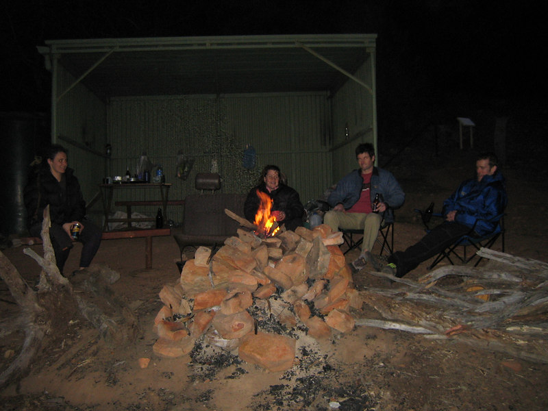 The team at the delux shelter at Black Ians Rocks, Grampians