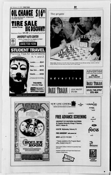 Daily Trojan, Vol. 139, No. 24, February 15, 2000