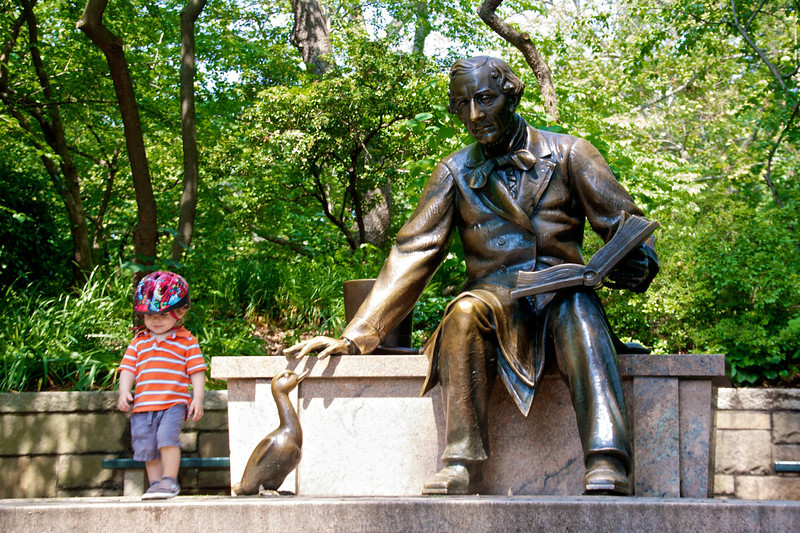 Luca with Hans Christian Andersen in Central Park.