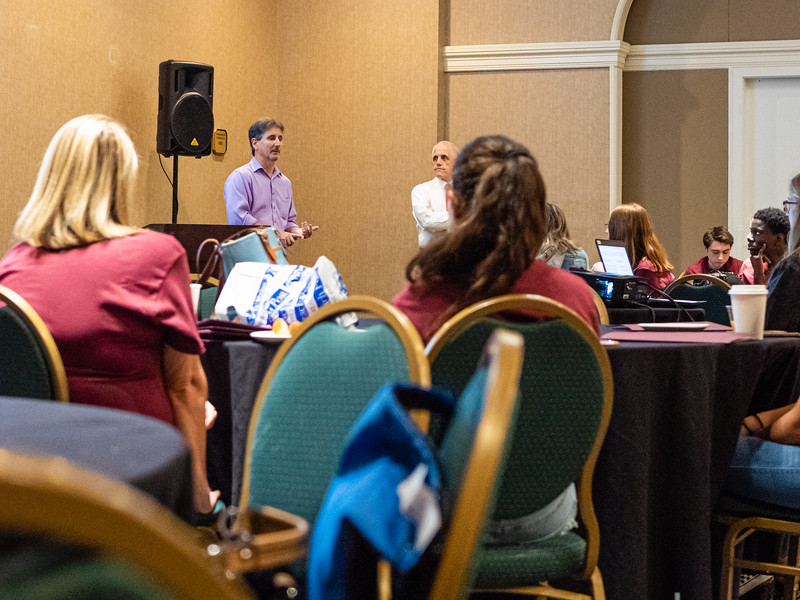 Andrew Davis, Senior Bridge Editor for the Palm Beach Daily News speaks to students at the High School Journalism Workshop, hosted by the Palm Beach Post at the Airport Hilton in West Palm Beach on Thursday, December 5, 2019. [JOSEPH FORZANO/palmbeachpost.com]