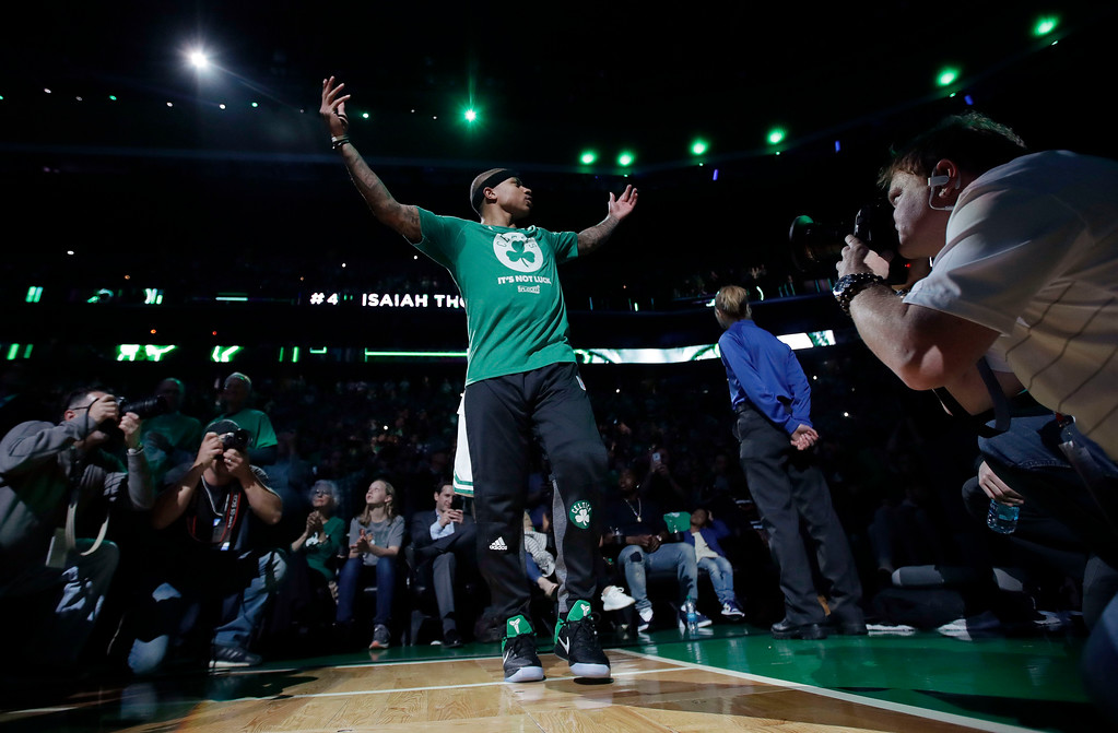 . Boston Celtics guard Isaiah Thomas is introduced before Game 7 of a second-round NBA basketball playoff series against the Washington Wizards, Monday, May 15, 2017, in Boston. (AP Photo/Charles Krupa)