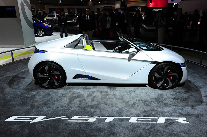 . he Honda EV-STER Small Sports Car concept is on display at the Los Angeles Auto Show in Los Angeles, California on media preview day, November 28, 2012.   The LA Auto Show will open to the public on November 30 and runs through December 9AFP PHOTO / Robyn BeckROBYN BECK/AFP/Getty Images