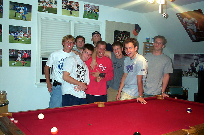 10/27/2001 ECU Club Soccer spending the night in Richmond on a road trip to play at UVA.  JG Ferguson, Jon Deutsch, Chris Kennedy, Frank, Kevin Smith, Justin Lucas, Bill Hancock, Andrew Sterner.