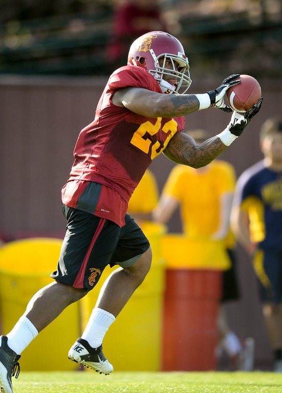 . USC RB Tre Madden catches a pass at practice, Thursday, March 27, 2014, at USC. (Photo by Michael Owen Baker/L.A. Daily News)
