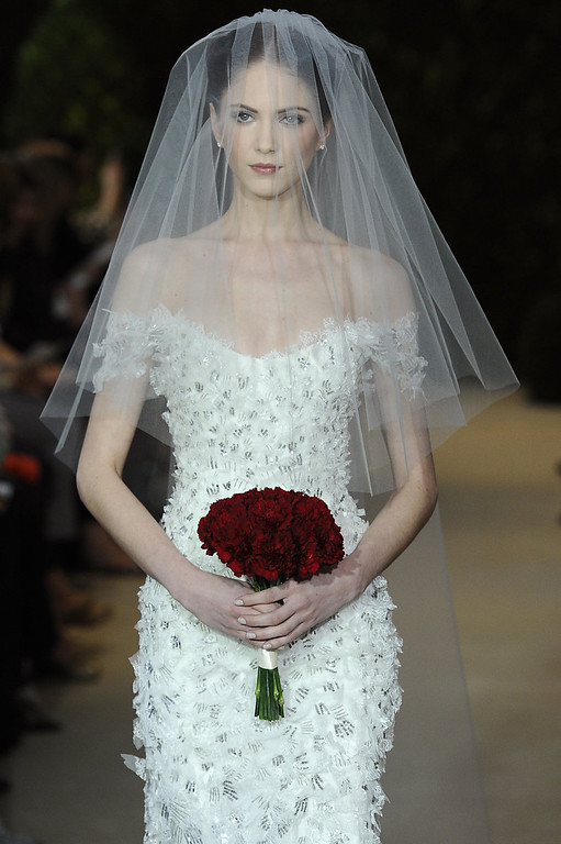 . A model walks the runway during the Carolina Herrera 2014 Bridal Spring/Summer collection show on April 21, 2013 in New York City.  (Photo by Fernanda Calfat/Getty Images)