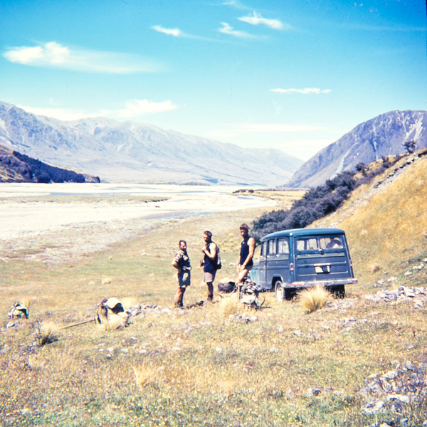 1955 Paul Wheeler, Don Peacock and XXX in Catherine Valley, mt Cook National Park.jpg