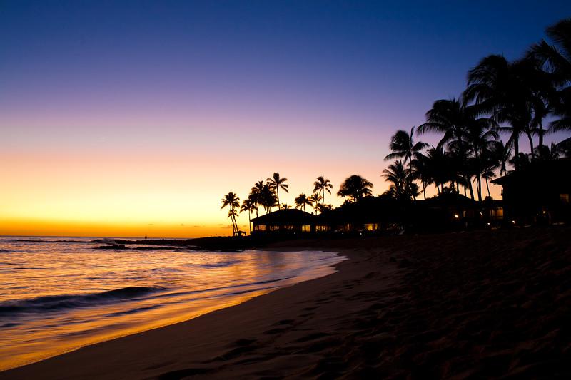 Sunset Scene at Tropical Beach Resort