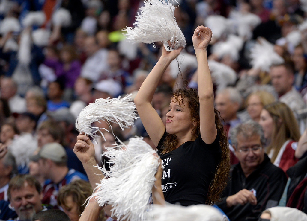 . DENVER, CO - APRIL 26: Avalanche fans cheer during the third period of action. The Colorado Avalanche hosted the Minnesota Wild in the fifth round of the Stanley Cup Playoffs at the Pepsi Center in Denver, Colorado on Saturday, April 26, 2014. (Photo by John Leyba/The Denver Post)