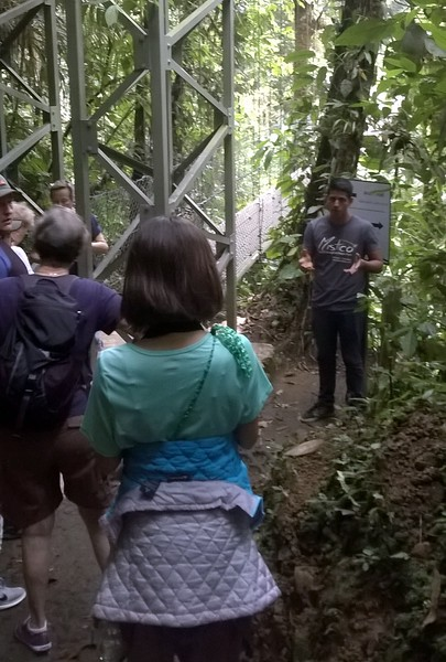 The guide explains things before we troop over the next bridge.