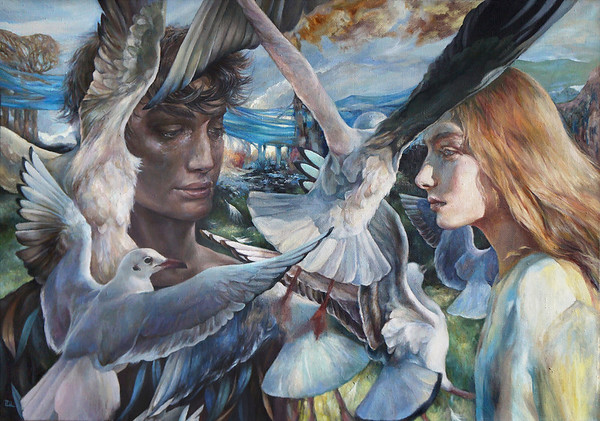 """Farewell near London Bridge"" (oil on canvas) by Maria Tikhomirova"