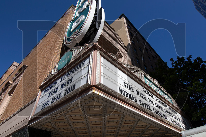 A planned refurbishing of the marquee at Arlene Schnitzer Concert Hall will include replacing letter boards with an LED display. (Sam Tenney/DJC)