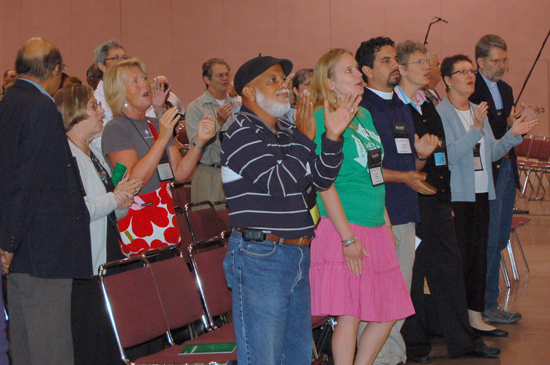 Lutherans rock out to the gathering music.