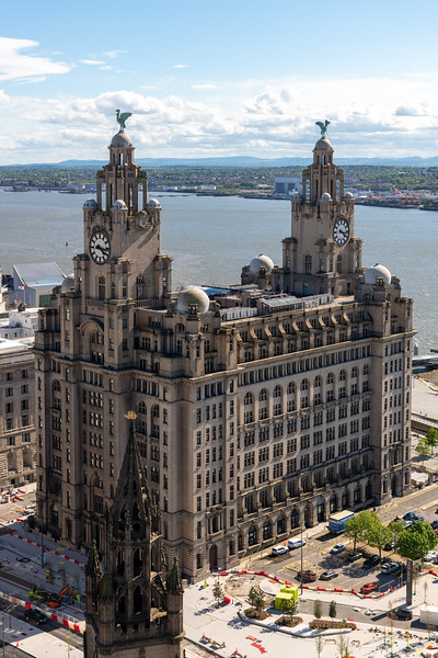 Royal Liver Building and St Nicholas Church Spire, Liverpool