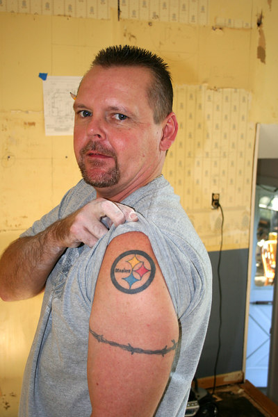 "Day two.  Ronnie the electrician.  A ""real hard core"" Steeler fan."