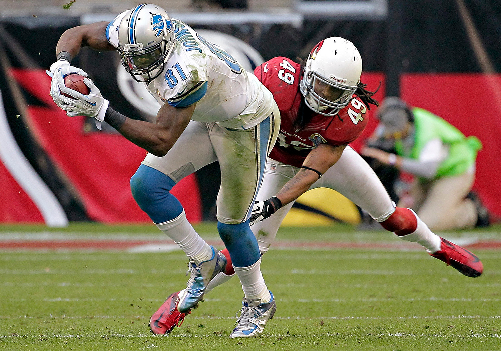 Description of . Detroit Lions wide receiver Calvin Johnson (81) pulls in a pass as Arizona Cardinals strong safety Rashad Johnson defends during the second half of an NFL football game on Sunday, Dec. 16, 2012, in Glendale, Ariz. (AP Photo/Matt York)