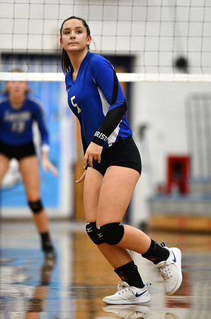11/1/2019 Mike Orazzi | StaffrBristol Eastern's Brooke Dorsio (5) during Friday night's girls volleyball match with Lyman Memorial in Bristol.