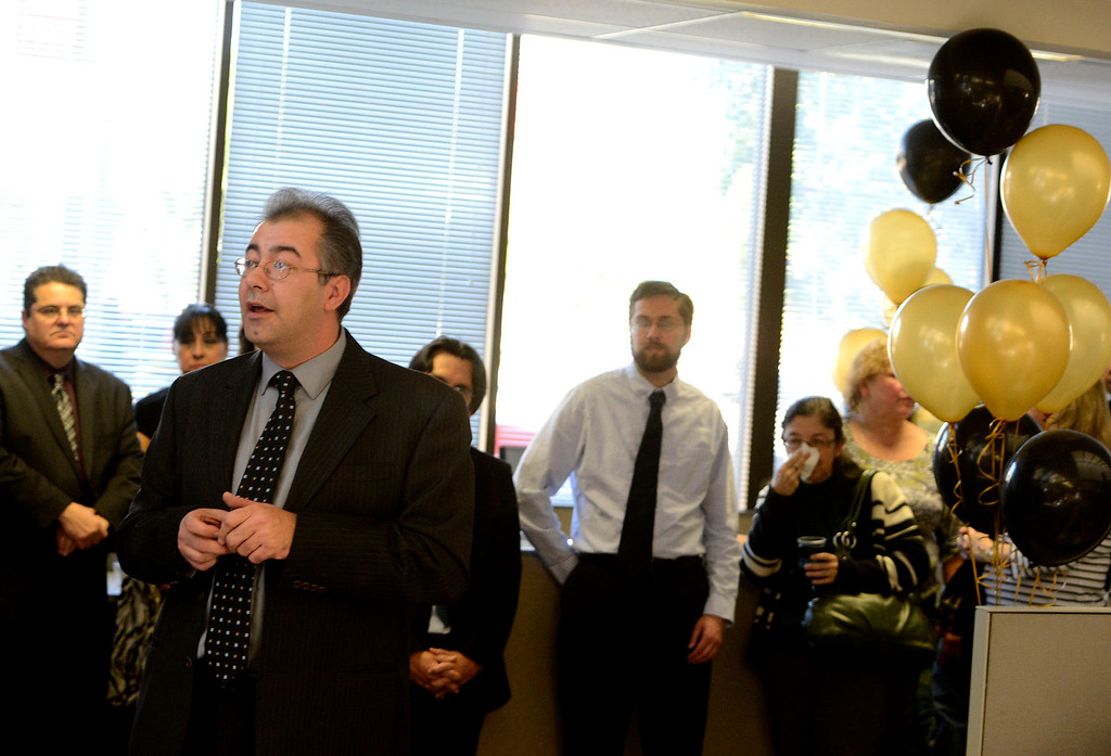 . Los Angeles News Group (LANG) Managing Editor/Digital News Frank Pine speaks to the public during The Sun\'s Open House in downtown San Bernardino March 13, 2013.  GABRIEL LUIS ACOSTA/STAFF PHOTOGRAPHER.
