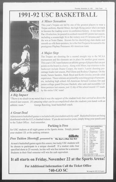 Daily Trojan, Vol. 116, No. 52, November 14, 1991