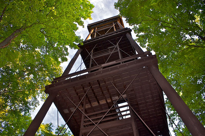 The... Observation Tower...Potawatomi State Park Wisconsin. Built in 1932 an amazing piece of work.. and still standing strong. Here I put the camera on the ground and flashed it with the speedlite.
