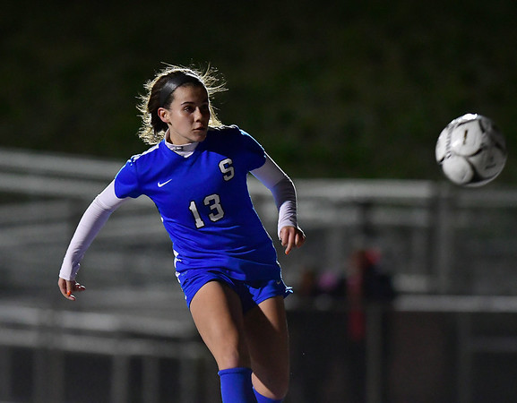 11/19/2019 Mike Orazzi | StaffrSouthington High Schools Maya Wroblewski (13) scores against Ridgefield during the Class LL Semifinal Girls Soccer match at Naugatuck High School Tuesday night.