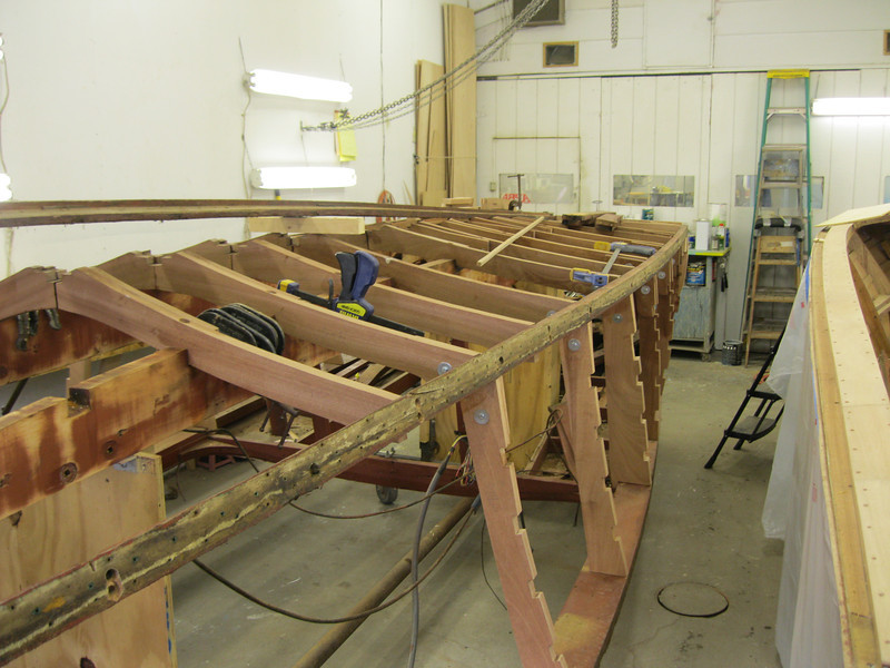 Starboard view of new bottom and side frames installed to this point.