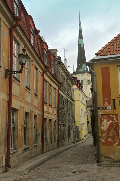 Quaint cobblestone street on the way to St. Olaf's Church -Tallinn, Estonia