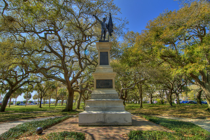 A statue devoted to Col. William Moultrie and the defenders of Fort Moultrie, located in White Point Gardens at The Battery in downtown Charleston, SC on Saturday, March 9, 2013. Copyright 2013 Jason Barnette
