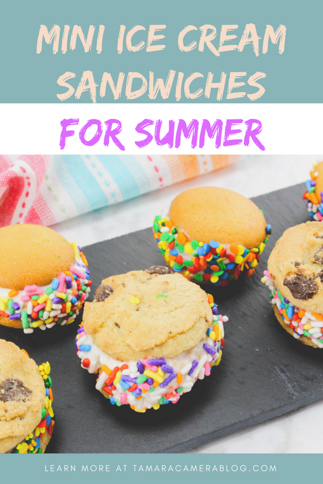 These EASY Mini Ice Cream Sandwiches are perfect for a summer day! You only need four ingredients, and these are perfect for parties and play dates. #recipe