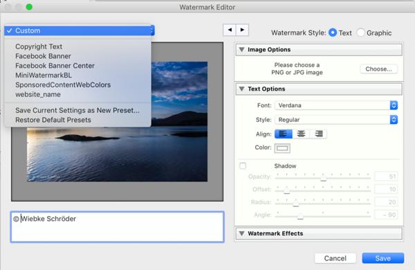 Watermark Editor Drop Down menu for an edited, unsaved watermark