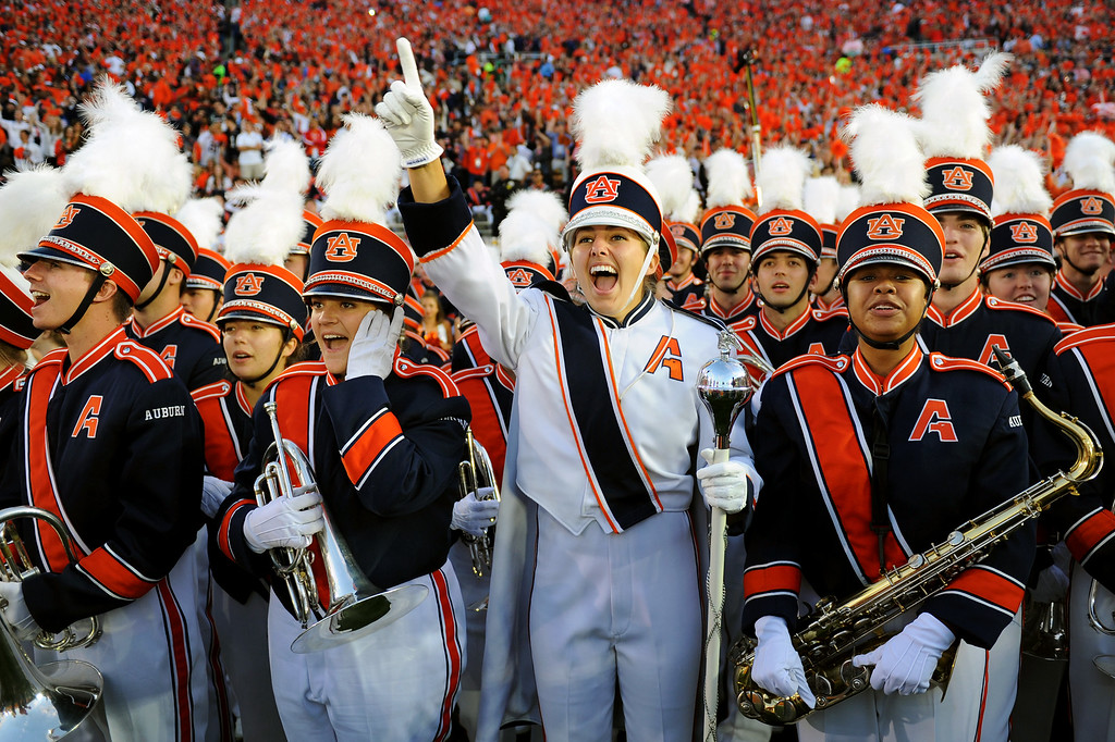 . The Auburn band cheers before the BCS national championship game at the Rose Bowl, Monday, January 6, 2014. (Photo by Michael Owen Baker/L.A. Daily News)