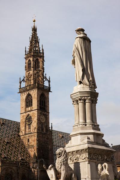 Walther and Church at Waltherplaza in Bolzano
