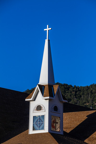 Cross sign on top of church - USA - Colorado