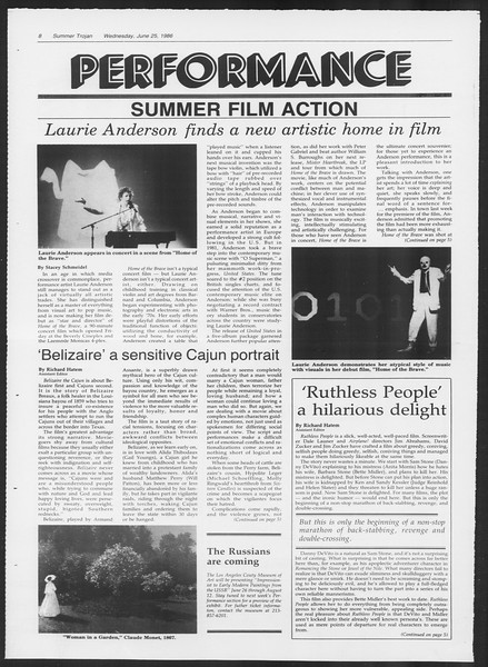 Summer Trojan, Vol. 101, No. 6, June 25, 1986