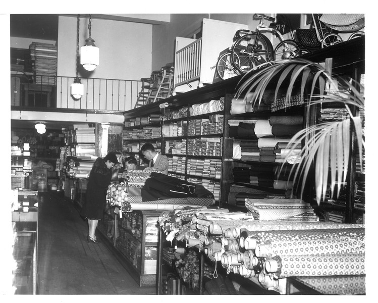 """""""Interior view of the Asia Company Department Store in the Japanese quarter of Los Angeles.""""--caption on photograph"""