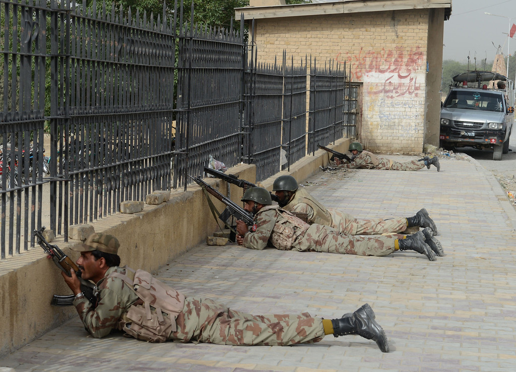 . Pakistani paramilitary soldiers take position after militants attacked a hospital in Quetta, the capital of Baluchistan province, on June 15, 2013.   AFP PHOTO/ Banaras  KHAN/AFP/Getty Images