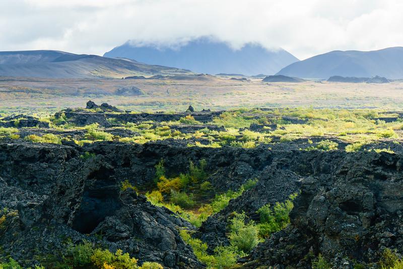 Fall colors, basalt, and clouds in Dimmuborgir, Iceland.