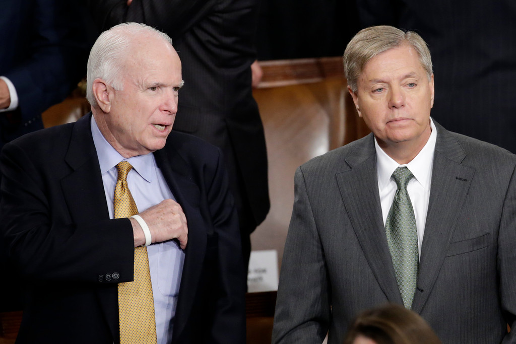 . Sen. John McCain, R-Ariz., left, talks with Sen.Lindsey Graham, R-S.C., on Capitol Hill in Washington, Tuesday, Jan. 20, 2015, before President Barack Obama\'s State of the Union address before a joint session of Congress. (AP Photo/Pablo Martinez Monsivais)
