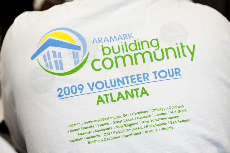 Volunteers from Aramark spend the day at Atlanta Union Mission  - painting, building shelves and picnic tables, sorting clothes, planting flowers and making signs and murals.