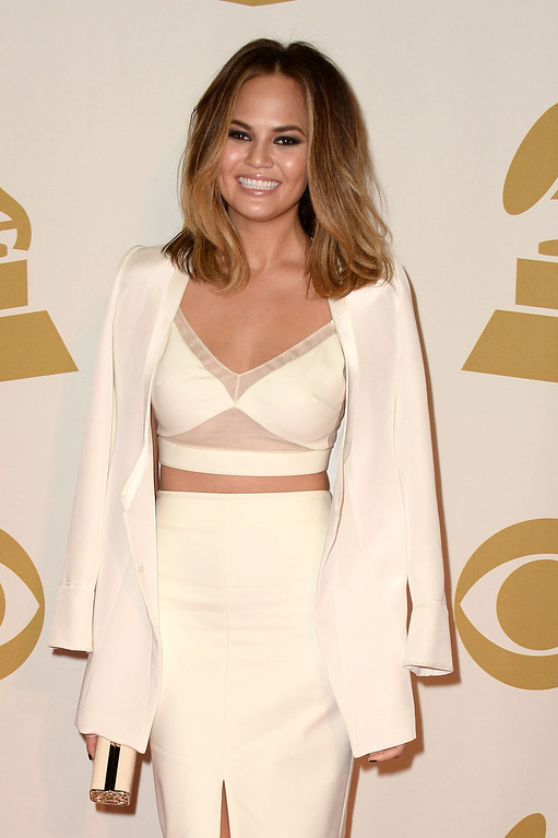 ". Model Chrissy Teigen attends ""The Night That Changed America: A GRAMMY Salute To The Beatles\"" at the Los Angeles Convention Center on January 27, 2014 in Los Angeles, California.  (Photo by Frazer Harrison/Getty Images)"