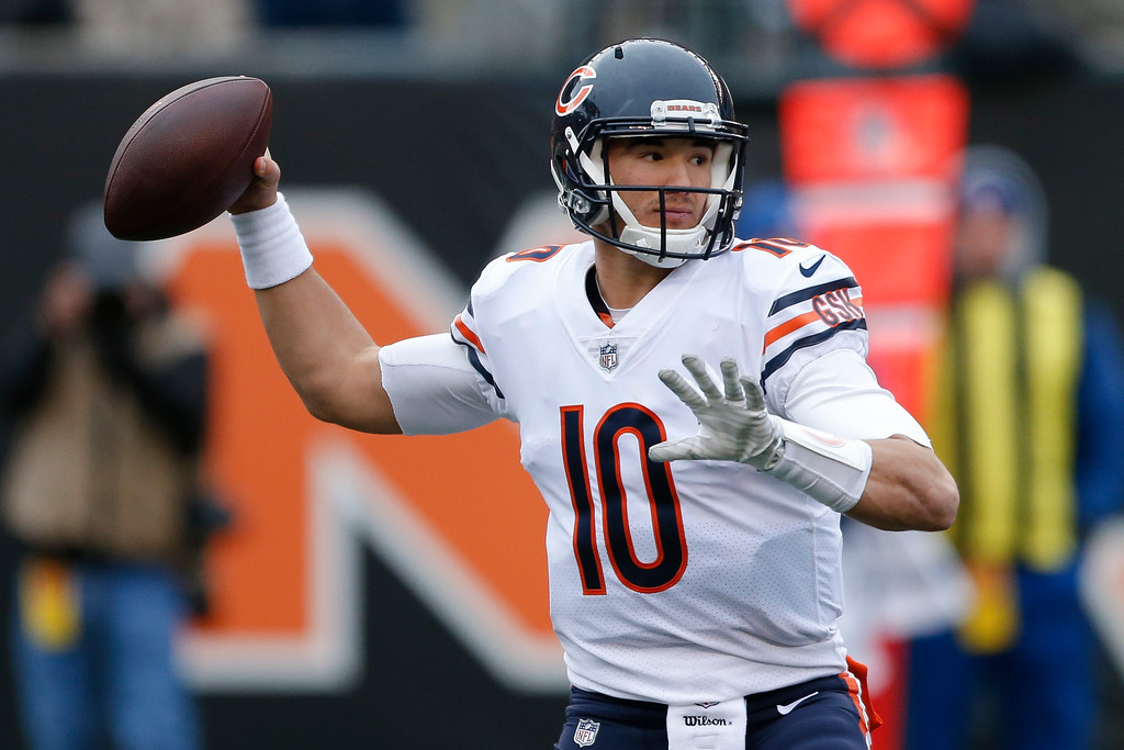 . Chicago Bears quarterback Mitchell Trubisky passes in the first half of an NFL football game against the Cincinnati Bengals, Sunday, Dec. 10, 2017, in Cincinnati. (AP Photo/Gary Landers)