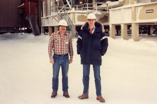Joel and JC on the North Slope during the ARCO project.
